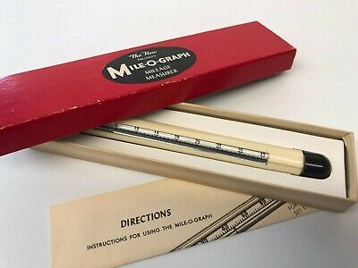 VINTAGE MILE-O-GRAPH MILEAGE MEASURER TOOL MEASURES MILES ON A MAP mint in box