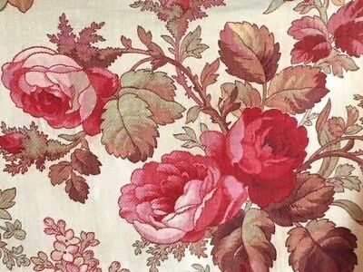 Antique French Fabric 1900 Floral Pink Roses Tulips Vintage Material 1 YARD