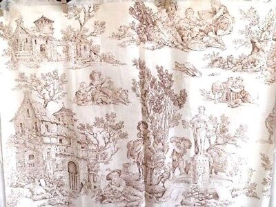 Antique French Toile Fabric 19th C Brown Sepia Sheep Pastoral