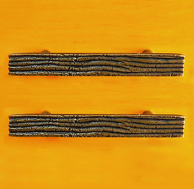 Lot of 2 pcs ANTIQUE RETRO Wooden Solid Brass Handle Pull Vintage Drawer Pulls