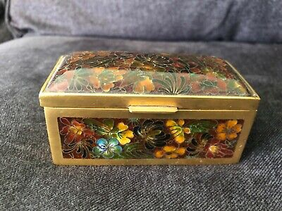 Sweet CHINA CHINESE Brass & Floral Cloisonne Trinket Box GORGEOUS