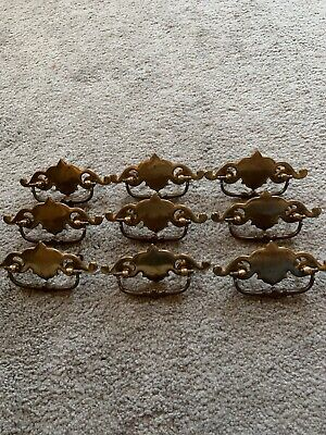 "Vtg Lot Of 9 Antique Victorian 5 "" BRASS French Ornate Drawer Pulls w/ Screws"