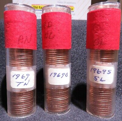 1969 P D & S Lincoln Memorial Cents, 3 Rolls - Bright Red Brilliant Uncirculated
