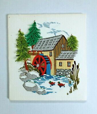 Vintage Finished Completed Crewel Embroidery Country House Water Wheel Ducks