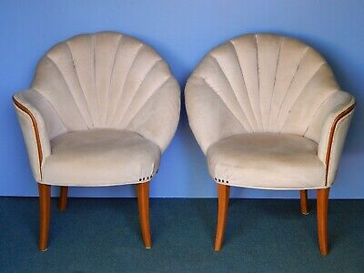 vtg pair fanback chairs art deco french club clam shell slipper dunbar mcm baker