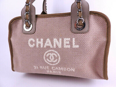 4da2e75854ae CHANEL Deauville 2way Chain Shoulder Bowling Bag Canvas Beige Silver A92749  9704