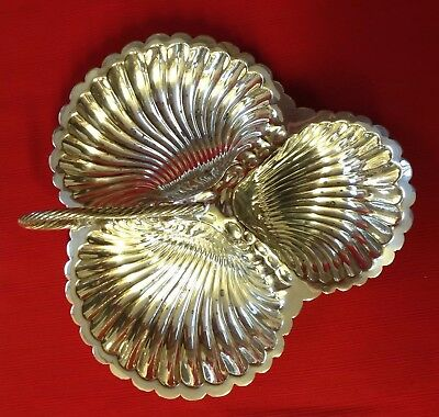 Antique William Hutton & Sons Silver Plate Shell Shape Hors D'Oeuvres Dish C1902