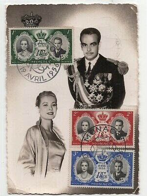Vintage 1956 Monaco Post Card with Prince Rainier & Princess Grace stamps