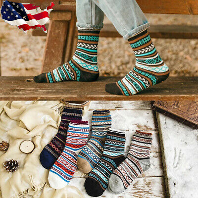 5Pairs Men Casual Wool Cashmere Warm Thick Design Retro Sports Hi-Q Socks Lot