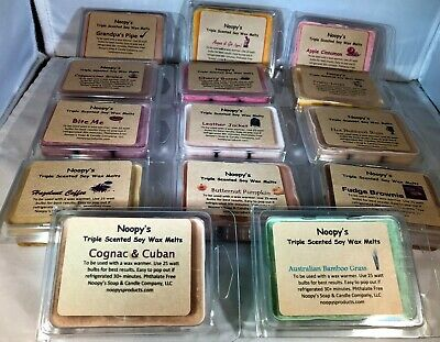 Pick 3 MAN CAVE Triple Scented Soy Wax NOOPY'S Candle Melts/Tarts Clam Shells
