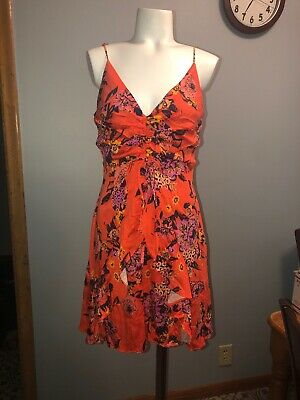 8cb83af612c0 Free People Happy Heart Ruched Mini Dress Size Large Warm Combo $108 NWTS