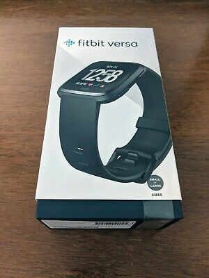 Fitbit Versa Smartwatch - Black Aluminum - 2 Sizes of Wristband, Charger, Watch
