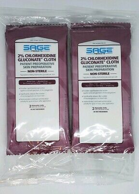 Sage Products 2% Chlorhexidine Gluconate Cloth Patient Preop Skin Prep Lot of 6