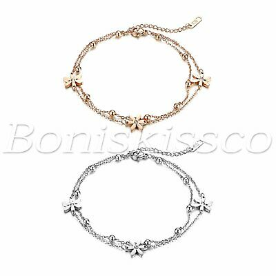 Womens Adjustable Stainless Steel Flower Multi-Layer Anklet Ankle Chain Bracelet