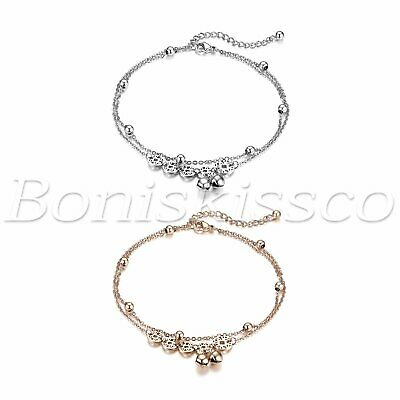 Women Adjustable Stainless Steel Coins Fortune Multi-Layer Anklet Chain Bracelet
