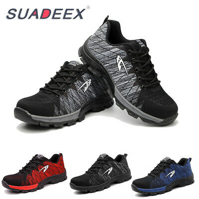 Mens Safety Mesh Shoes Toe Steel Lightweight Work Cap Boots Hiking Trainers