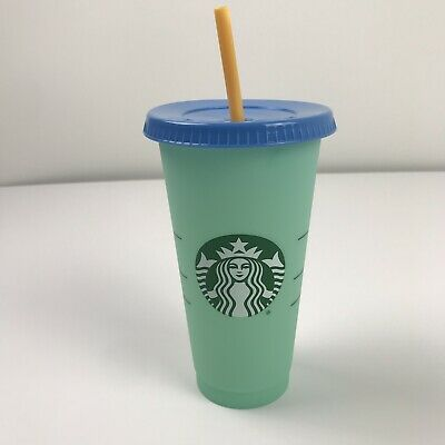 Starbucks Color Changing 1 Single Cold Cup 24oz Venti Arctic Teal Tumbler HTF