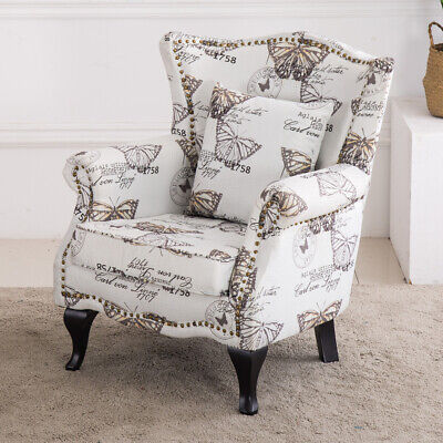 Chesterfield Queen Anne High Back Wing Chair Butterfly Pattern Fabric Armchair