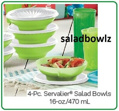 TUPPERWARE New SERVALIER CEREAL/SALAD BOWL SET of 4 Bowls in LIME AID fREEsHIP!
