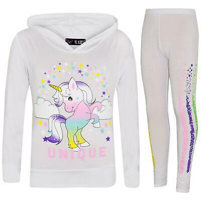 Kids Girls Dabbing Unicorn Unique Hooded Pink Top & Legging Set Floss Tracksuits