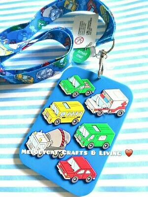 Smiggle Scented Silicone  Lanyard Card Holder Blue, Car, Bus & Truck