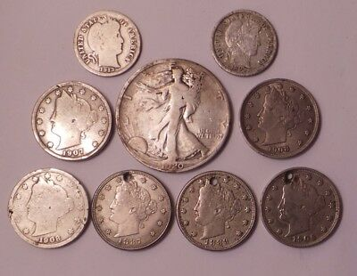 Vintage Usa Silver Coins - Walking Liberty Half Dollar, V Nickles, Barber Dimes