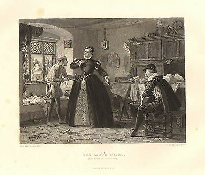 1876 Shakespeare Print ~ King Henry IV 2. Teil The LADY'S Tailor