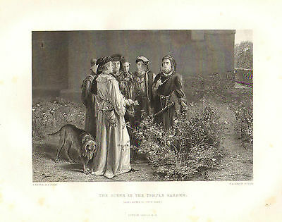 1876 Shakespeare Print ~ King Henry VI 1. Teil ~ Scene in Temple Garden