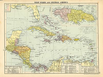 1929 Map ~ West Indies & Central America ~ Cuba Jamaica Guatemala Haiti Bahama