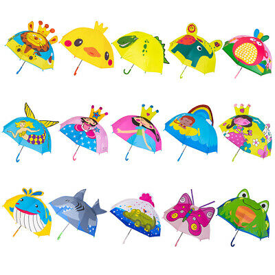 Children Umbrella Girls Boys Cartoon With Animal Ears Umbrella Long Handle Light