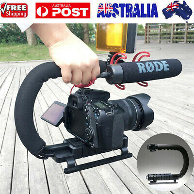 Black C Shape Bracket Handle Grip Video Stabilizer For DSLR Camera Camcorder AU