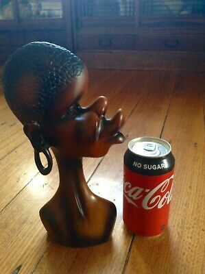 Vintage African Black Lady Statue. Retro 1950's to 1960's Style