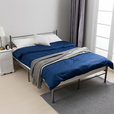 3FT Single 4FT6 Double Metal Bed Frame Sturdy Bedstead for Kids Adult Silver