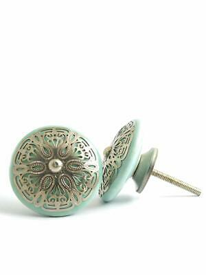Pastel Country Set of 12 Beautiful Mack Golden Lining Drawer Cupboard Knobs