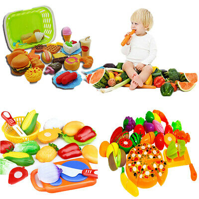 Kids Toy Pretend Role Play Kitchen  Fruit Vegetable Food Toy Cutting Set Gift