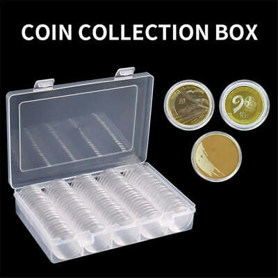 100Pcs 27mm Clear Round Coin Cases Capsules Container Holder Storage Box bhn