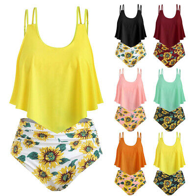 6864f64c0b74 Women Print Two Pieces Bathing Sets Top Ruffled With High Waisted Loose  Bikini