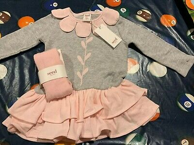 BNWT SEED Girls Flower Dress Winter With Pink Tights 12-18 Months