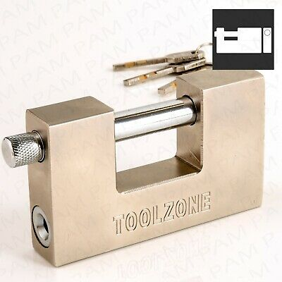 Large HEAVY DUTY Shutter Padlock 100mm Wide High Security Thick Shackle Lock Up