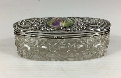 Antique 1905 Schindler & Co Solid Silver Topped Dressing Box Cut Glass Enamel