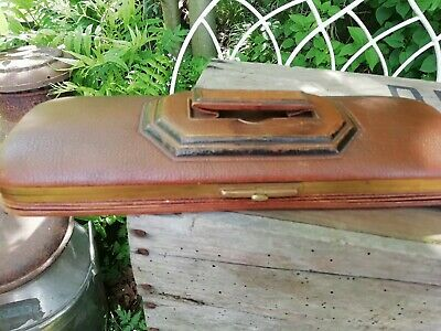 Victorian Leather Concertina Glove Box Case Gilt Frame Collapsible Handle C1880