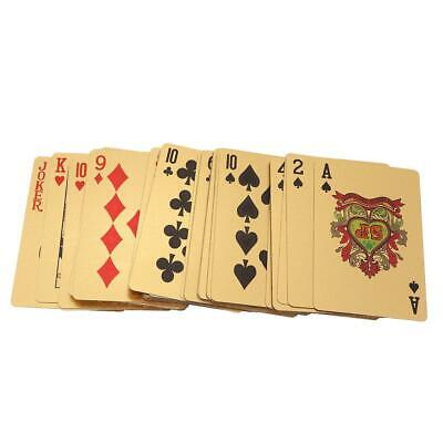 54 Playing Cards Vintage Waterproof 24k Gold Foil Plated Cover Poker Table Games
