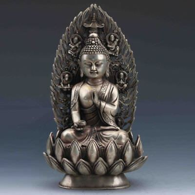 Collectible Chinese Tibet Silver Handwork Carved Buddha Statue