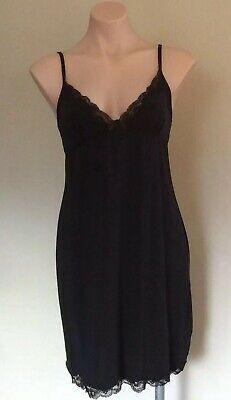 Stretchy Black Satin & Lace Slip With Bow Size S/M 8 - 12 Adjustable Straps NWT