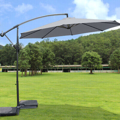 Grey 3m Garden Banana Parasol Patio Sun Shade Hanging Rattan Umbrella Cantilever