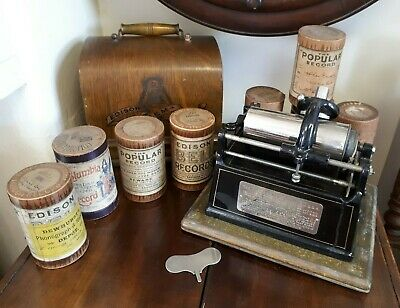 """Oak Cased Edison """"Gem"""" Phonograph Type 1 B With Key & Cylinders Nice Condition"""