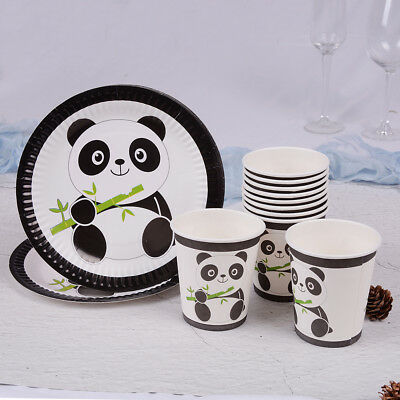 10x Panda theme papers plates disposable paper cups kids birthday party decors