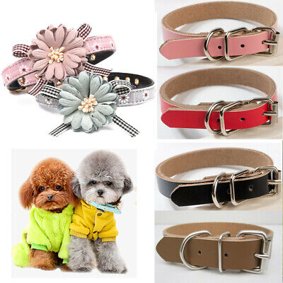 UK Adjustable Leather Dog Collar Pet Cat Puppy Flower Necklace Bow Tie Collars