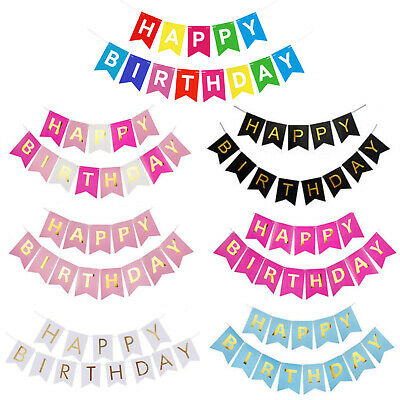Happy Birthday Bunting Banner Pastel Hanging Letters Party Decoration Garland BK