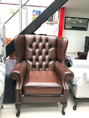 EX-DISPLAY Chesterfield Classic High Back Wing Chair Antique Brown Leather